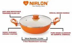 Nirlon Ceramic CSS_24 PTFE Coating Aluminium Ceramic 3.1 L Casserole With Lid