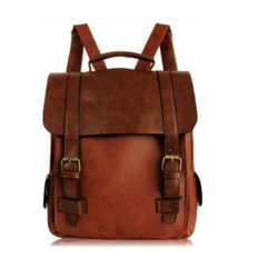Brown Real Goat Leather Rucksack Backpack
