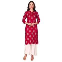 Maroon Color Rayon Printed Kurta for Women and Girls
