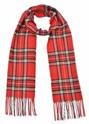 Ladies Red Check Woolen Mufflers