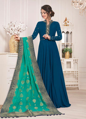 64fe07b9d5f Muslin Silk Designer Floor Touch Anarkali Suits with Banarasi Dupatta