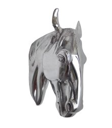 Metal Wall Mount Horse Head Statue Shiny Polished