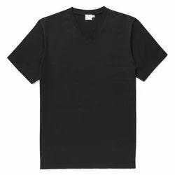 Causal Cotton Men V-Neck Black Plain T-Shirts