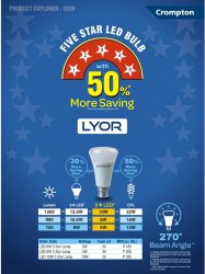 10 W Cool Daylight Crompton Lyor LED Bulb 10w