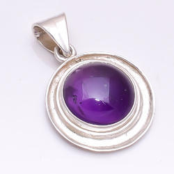Round Amethyst 925 Sterling Silver Pendant