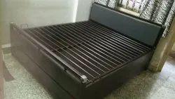 Metal Bed With Back Cushion