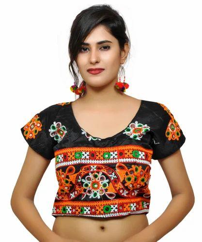 831bae6ea718a4 Black Embroidered Banjara India Women' s Dupion Silk Aari Short Sleeves  Kutchi Blouse-Ba