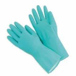 Aqua Nitrile Flock Lined Hand Gloves