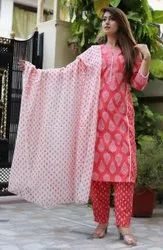 A-line Yellow Printed Cotton Suits With Pant And Dupatta Set, Size: Xl