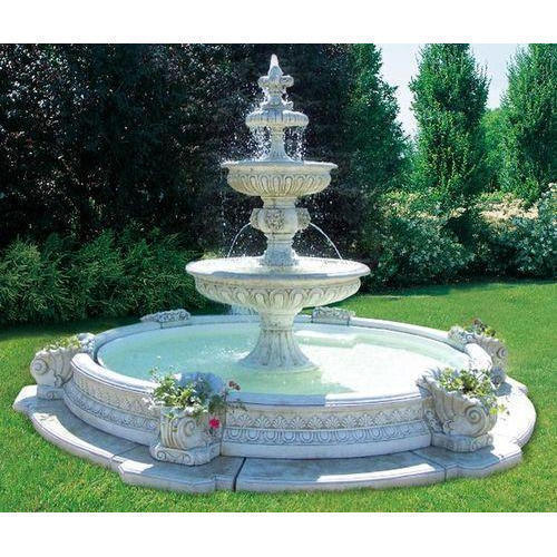 white monteros tiered outdoor water fountain  rs 1000   square feet