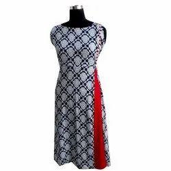 Casual Wear Sleeveless Ladies Fancy Printed Cotton Kurti, Size: XL