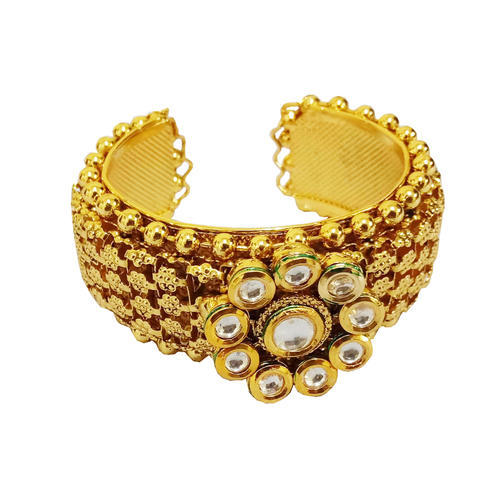 11ecb6fb2 Party Wear Adjustable Kundan Kada Gold Plated Openable Free Size Bangles