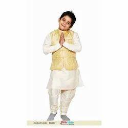 Cream Kids Kurta With Jaquar Jacket, Packaging Type: Packet