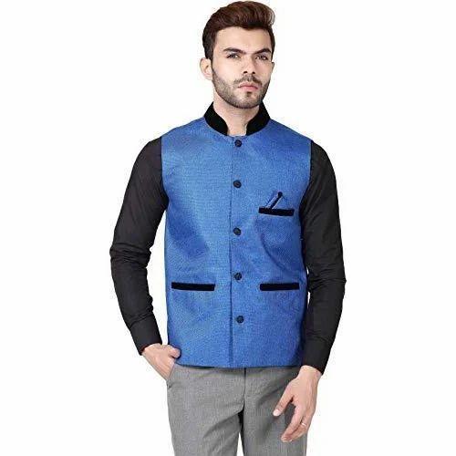 db25d6b63b Akaas Party Wear Mens Blue Jute Neharu Jacket(Koti)