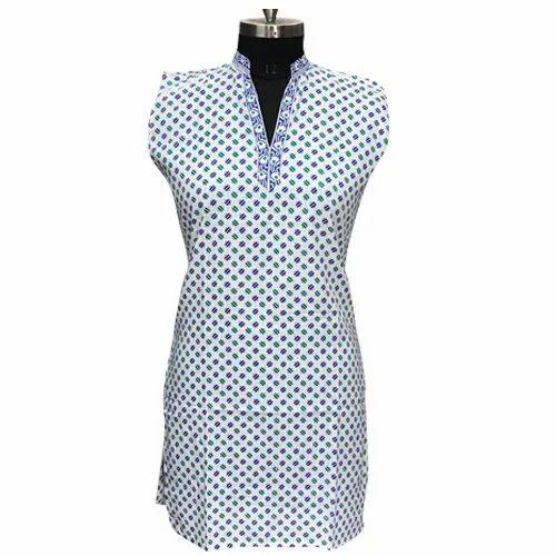 L Stitched Designer Cotton Print Kurti