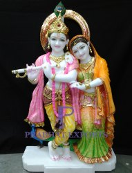 Marble Lord Radha Krishna Statue With Peacock