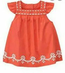 Orange Embroidered Baby Girl Dress