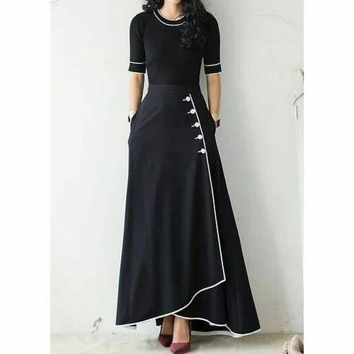 Party Wear Plain Ladies Black One Piece Dress 389fbca8c0d2