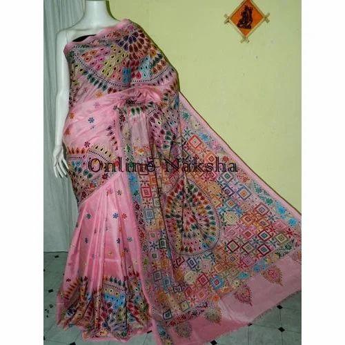 2156d3bb243 Online Naksha Soft Silk Kantha Stitch Saree