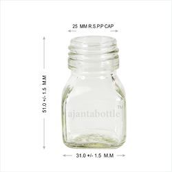 Flint/Clear 25 Gm Square Fancy Glass Jar