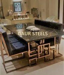 Gaur Steels Stainless Steel Dining Table, Size: 6 X 3 Feet, Shape: Rectangular