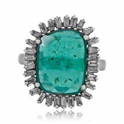 Green Emerald Baguette Diamond 925 Silver Ring
