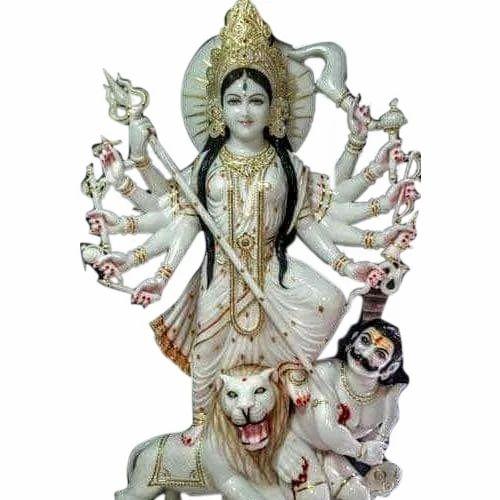 Jaipurcrafts Multicolor White Marble Mahisasuri Durga Mata