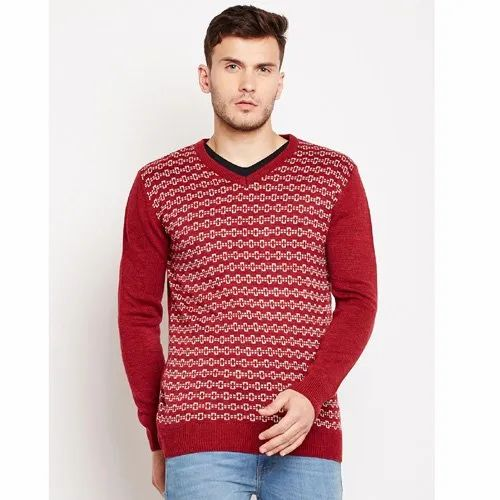 Casual Wear Woolen V Neck Pullover