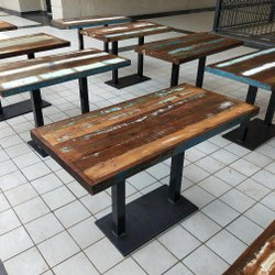 Cafe Table RECLAIMED WOOD Cafeteria Tables, Size: 120x80c75 Cm, Seating Capacity: 6 Person