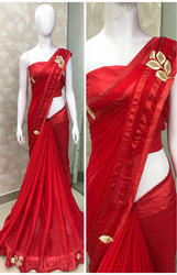 Plain Fashion Georgette Red Saree