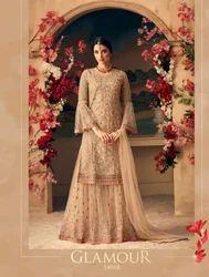 c875d677c8 Peach Straight Exclusive Designer Sharara Salwar Suits, Rs 3330 ...