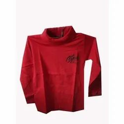 Cotton Full Sleeves Red High Neck T Shirt, Packaging Type: Packet