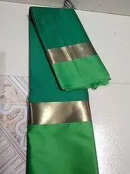 Women Green Banarasi Cotton Saree
