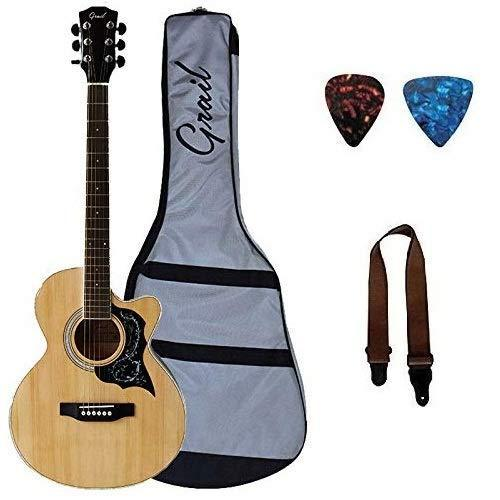 c96832402e Grail AG-A190CE SP Electro Acoustic Guitar Cutaway Spruce Top With Free Case,  Strap