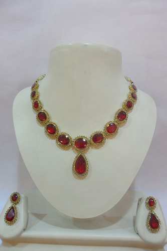 136b8dcdbd911 GOLD NECKLACES - CAT174 Almas Ruby Gold Necklace Wholesale ...