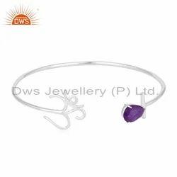 Aventurine 925 Sterling Fine Silver OM Charm Cuff Bracelet Jewelry