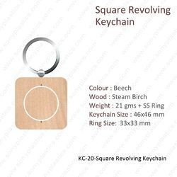 Wooden Keychain-KC-20-Square Revolving Keychain
