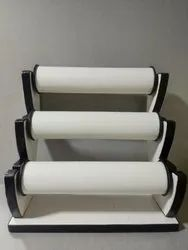 black & white Wooden 3 Tube Rexin Bangle Display Stand, Size: Height Upto 9 Inches