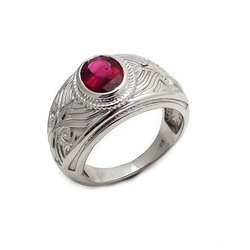 Party Wear 925 Sterling Silver Natural Pink Tourmaline Mens Rings
