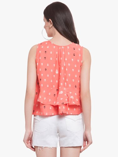 891c2cc605a Martini Women Skeleton Print Orange Layered Top