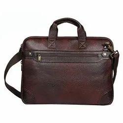 Plain Brown Office Leather Messenger Bag, Size: 42x5x30 Cm