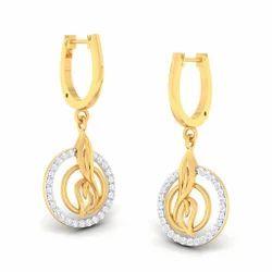 Round Shape Designed Diamond Gold Earring