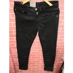 Casual Wear Plain Black Denim Jeans Narrow Fit, Waist Size: 28-36