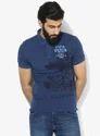 Blue Printed Regular Fit Polo T Shirt