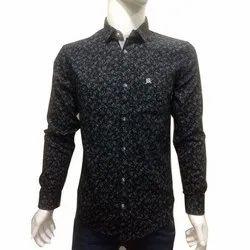Mens Cotton Black Printed Shirt, Size: S-XXL