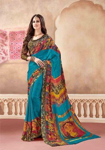 f62e190e3e Silk Multi Color Digital Printed Saree with Blouse Piece, Saree Length: 5.5  m