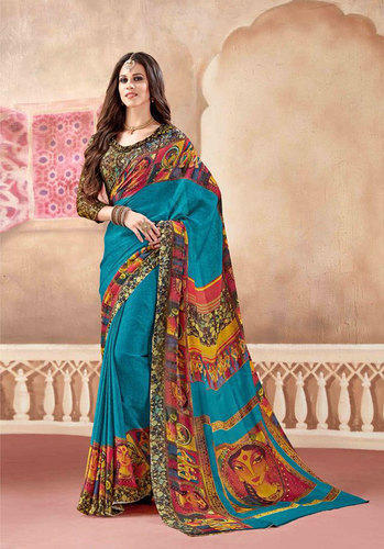 d31912a71a Silk Multi Color Digital Printed Saree with Blouse Piece, Saree Length: 5.5  m