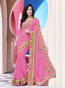 Pink Chiffon Fancy Saree