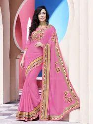 Pink Chiffon Fancy Saree