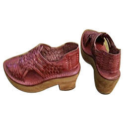 Leather Daily wear Hand Made Wooden Heel Sandal
